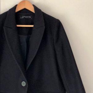 Zara Woman Navy Wool Single Button Coat